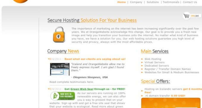 OrangeWebsite.com Offshore Hosting Specialist Launches a Green Web Seal Program