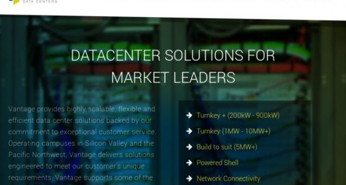 Vantage Data Centers Announces Availability of 12 Megawatts in State-of-the-Art V2 Facility in Santa Clara
