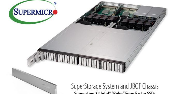 "Supermicro Introduces Next-Generation Storage Form Factor with New Intel ""Ruler"" All-Flash NVMe 1U Server and JBOF"