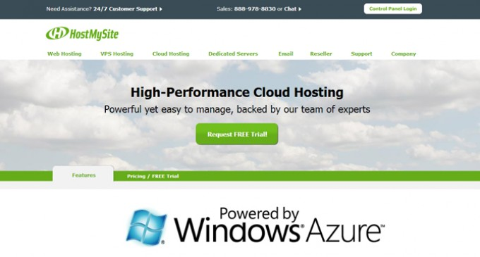 HostMySite Launches Cloud Hosting Platform Powered By Windows Azure Pack